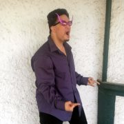 "Josh wearing purple Super star ""wings"""