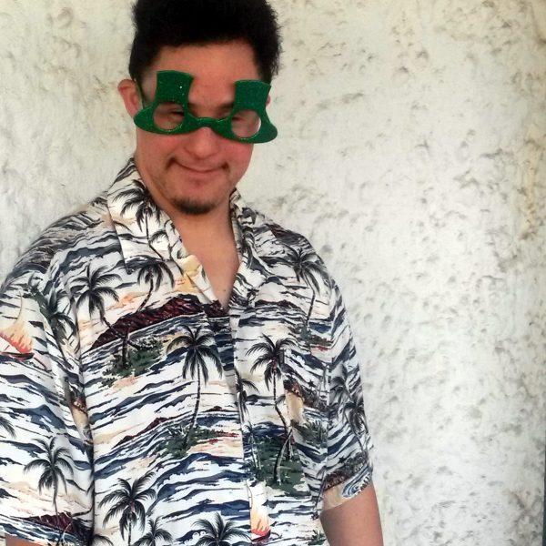 Josh wearing Slash o' Paradise City glasses